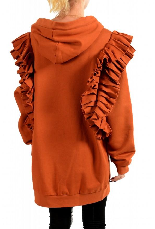 Just Cavalli Women's Brown Logo Hooded Full Zip Ruffled Sweatshirt : Picture 3