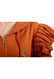 Just Cavalli Women's Brown Logo Hooded Full Zip Ruffled Sweatshirt : Picture 4