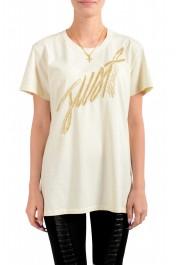Just Cavalli Women's Beige Embroidered Short Sleeve Crewneck T-Shirt