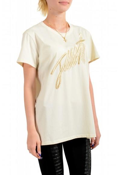 Just Cavalli Women's Beige Embroidered Short Sleeve Crewneck T-Shirt : Picture 2