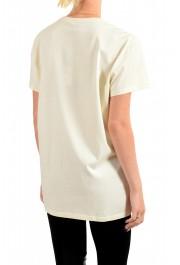 Just Cavalli Women's Beige Embroidered Short Sleeve Crewneck T-Shirt : Picture 3