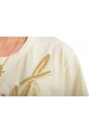 Just Cavalli Women's Beige Embroidered Short Sleeve Crewneck T-Shirt : Picture 4