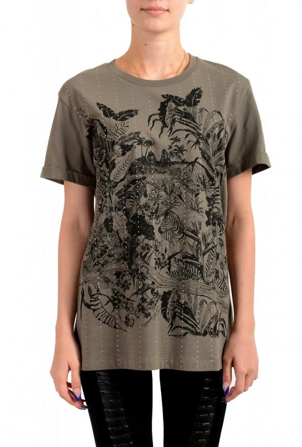 Just Cavalli Women's Olive Embellished Short Sleeve Crewneck T-Shirt