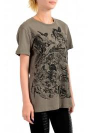 Just Cavalli Women's Olive Embellished Short Sleeve Crewneck T-Shirt : Picture 2