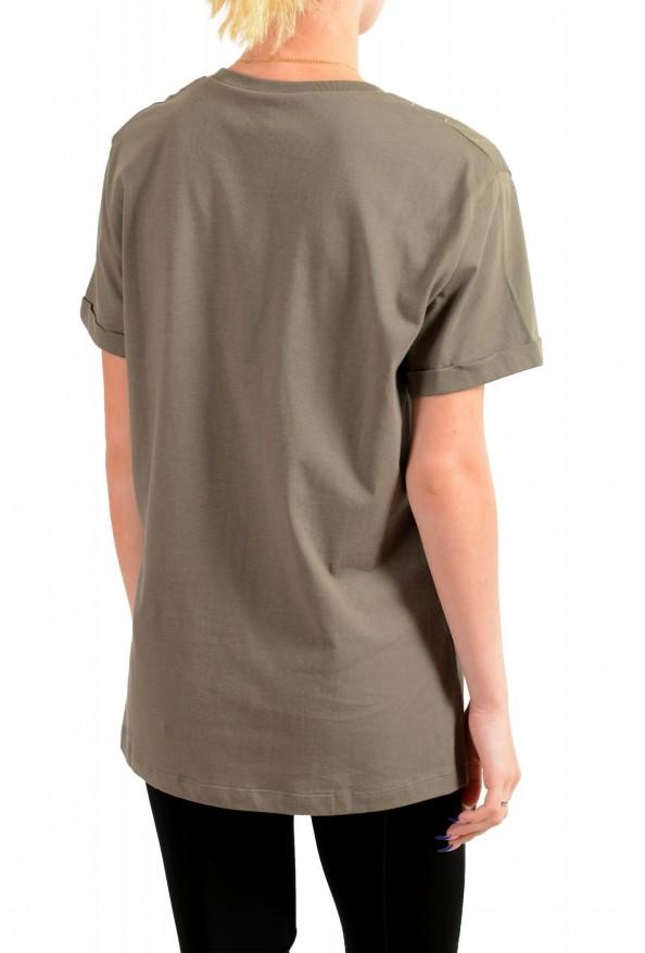 Just Cavalli Women's Olive Embellished Short Sleeve Crewneck T-Shirt : Picture 3