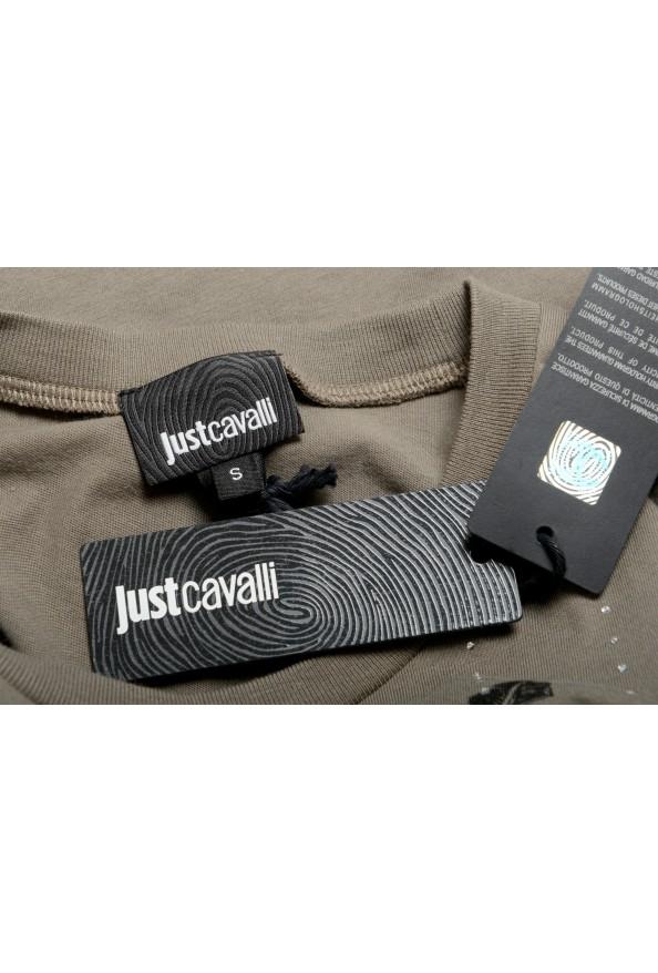 Just Cavalli Women's Olive Embellished Short Sleeve Crewneck T-Shirt : Picture 6