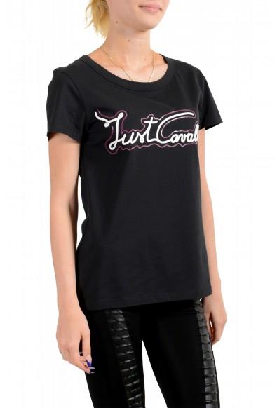 Just Cavalli Women's Black Logo Print Short Sleeve Crewneck T-Shirt: Picture 2
