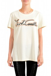 Just Cavalli Women's Beige Logo Print Short Sleeve Crewneck T-Shirt