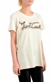 Just Cavalli Women's Beige Logo Print Short Sleeve Crewneck T-Shirt: Picture 2