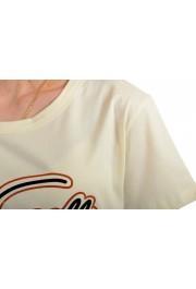 Just Cavalli Women's Beige Logo Print Short Sleeve Crewneck T-Shirt: Picture 4