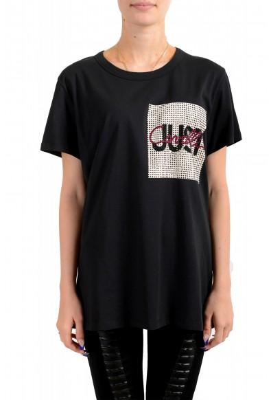 Just Cavalli Women's Black Embellished Short Sleeve Crewneck T-Shirt