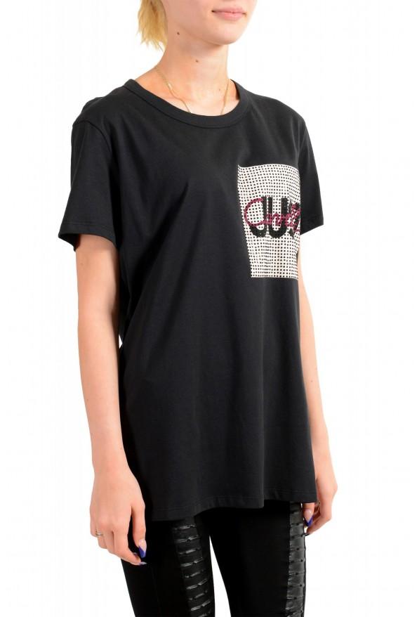 Just Cavalli Women's Black Embellished Short Sleeve Crewneck T-Shirt : Picture 2