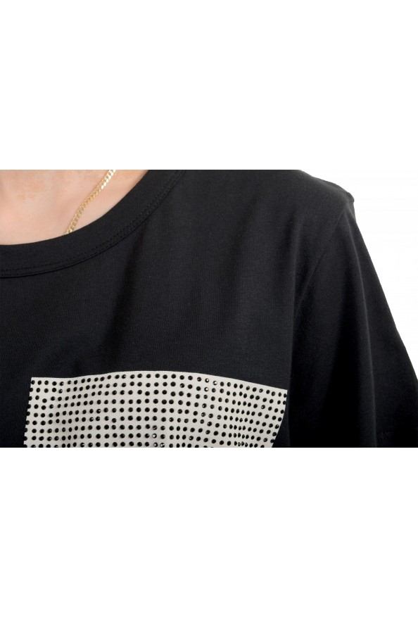 Just Cavalli Women's Black Embellished Short Sleeve Crewneck T-Shirt : Picture 4