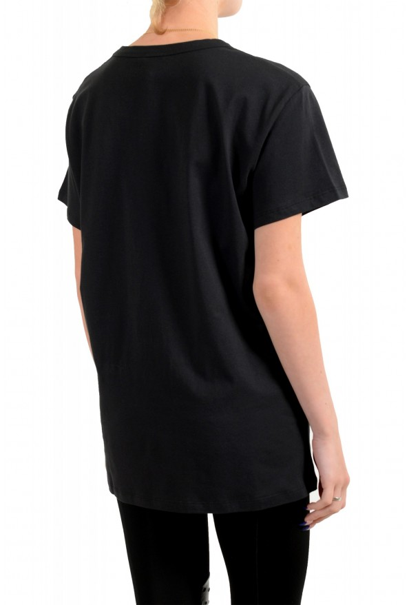 Just Cavalli Women's Black Embroidered Short Sleeve Crewneck T-Shirt: Picture 3