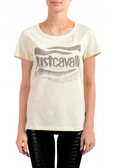 Just Cavalli Women's Beige Embellished Short Sleeve Crewneck T-Shirt