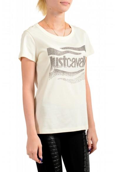 Just Cavalli Women's Beige Embellished Short Sleeve Crewneck T-Shirt : Picture 2
