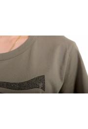 Just Cavalli Women's Olive Embellished Short Sleeve Crewneck T-Shirt : Picture 4