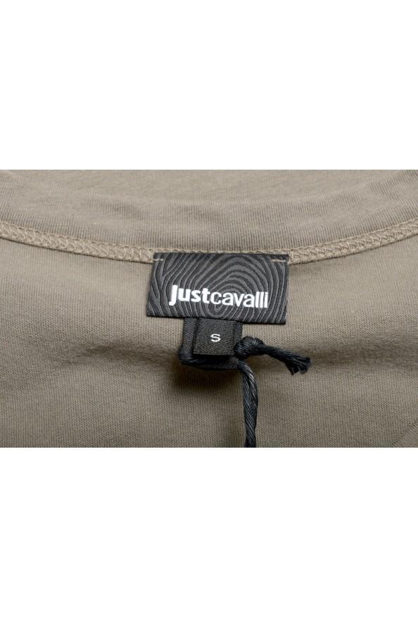 Just Cavalli Women's Olive Embellished Short Sleeve Crewneck T-Shirt : Picture 5