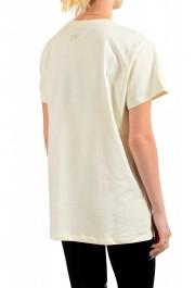 Just Cavalli Women's Beige Embellished Short Sleeve Crewneck T-Shirt : Picture 3