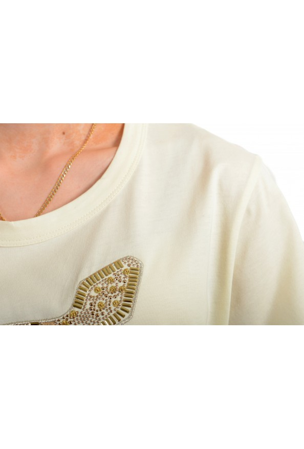 Just Cavalli Women's Beige Embellished Short Sleeve Crewneck T-Shirt : Picture 4
