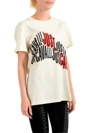 Just Cavalli Women's Beige Logo Print Short Sleeve Crewneck T-Shirt : Picture 2