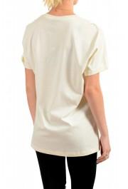 Just Cavalli Women's Beige Logo Print Short Sleeve Crewneck T-Shirt : Picture 3