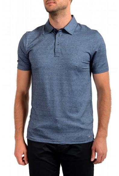"""Hugo Boss Men's """"T-Pryde 48"""" Blue Linen Short Sleeve Polo Shirt"""