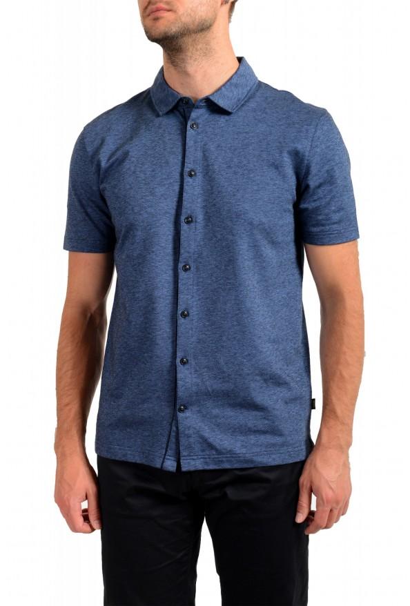 """Hugo Boss Men's """"Powell 08_B"""" Blue Short Sleeve Button Down Shirt"""