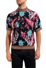 Prada Men's Floral Print Multi-Color Silk Short Sleeve Sweater