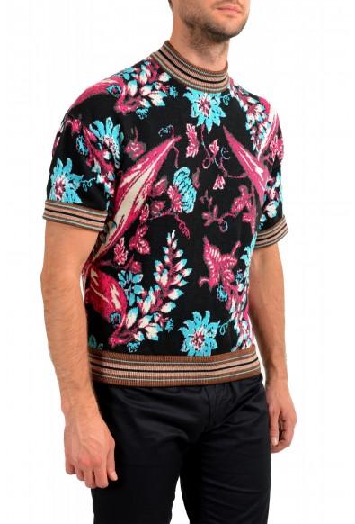 Prada Men's Floral Print Multi-Color Silk Short Sleeve Sweater: Picture 2