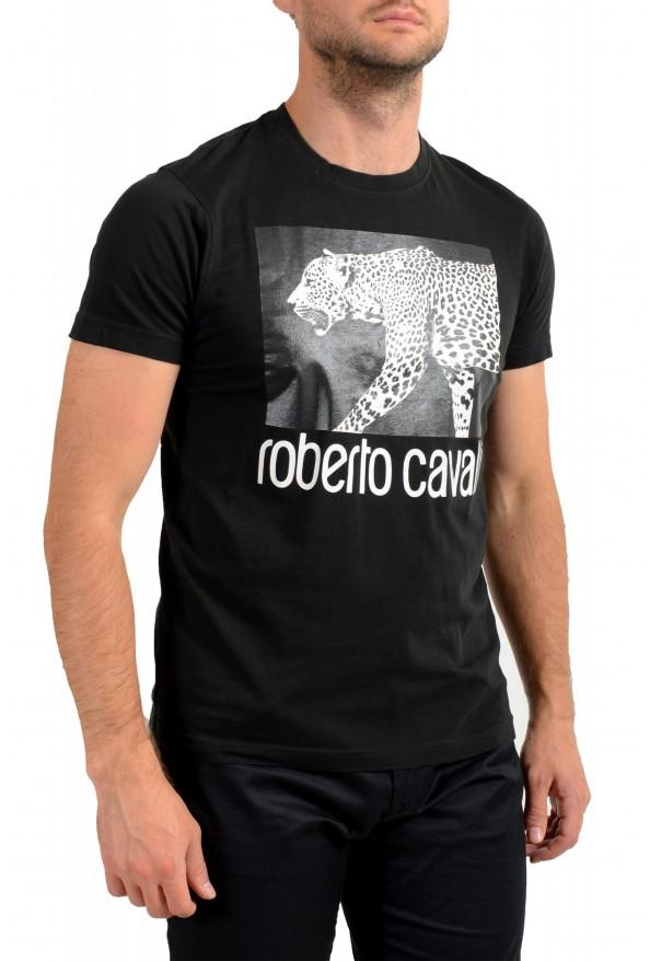 Roberto Cavalli Men's Black Graphic Print Crewneck T-Shirt: Picture 2