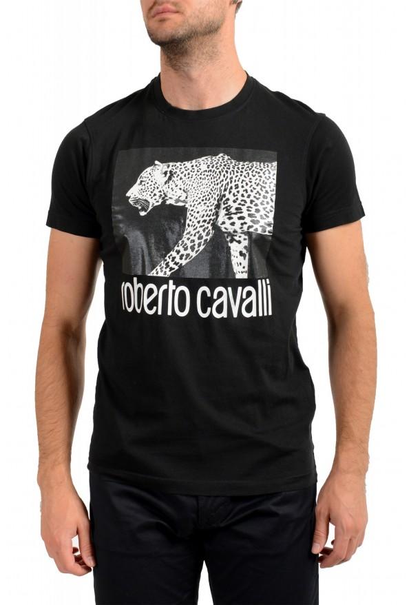 Roberto Cavalli Men's Black Graphic Print Crewneck T-Shirt