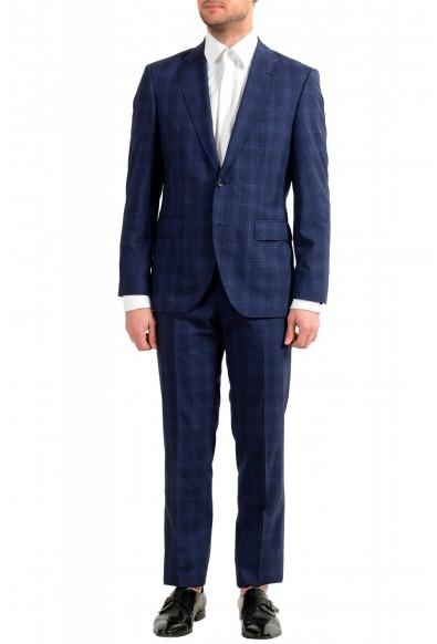 Hugo Boss Men's Jeckson/Lenon1 Regular Fit 100% Wool Blue Plaid Two Button Suit