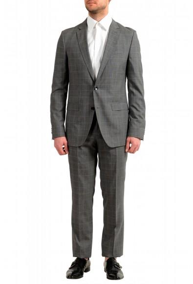 "Hugo Boss Men's ""Novan5/Ben2"" Gray Slim Fit 100% Wool Plaid Two Button Suit"
