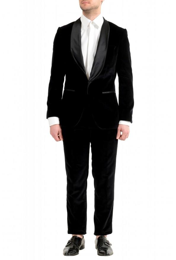 "Hugo Boss Men's ""Henrey1/Glow1"" Slim Fit Black Velour Tuxedo Suit"