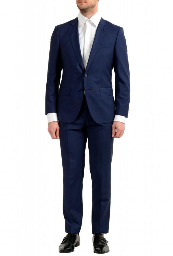 "Hugo Boss Men's ""Huge6/Genius5"" Blue Slim Fit 100% Wool Striped Two Button Suit"