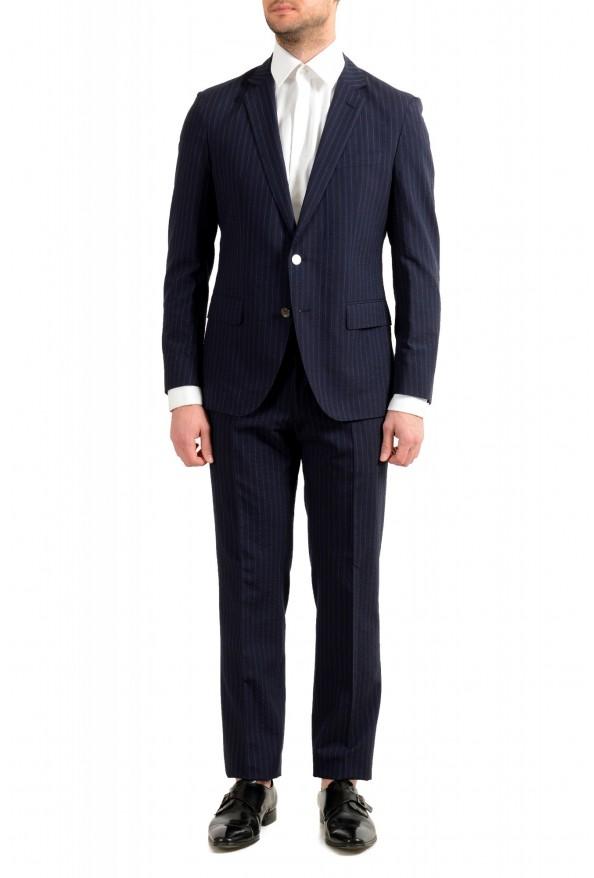 "Hugo Boss Men's ""Helford/Gender3"" Slim Fit Blue Striped Wool Two Button Suit"