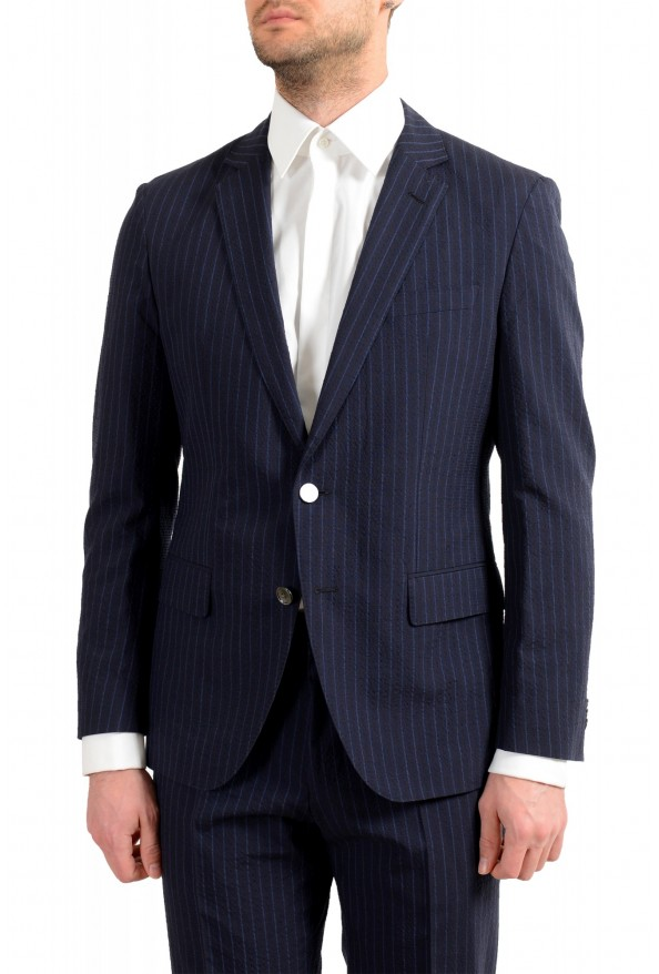 """Hugo Boss Men's """"Helford/Gender3"""" Slim Fit Blue Striped Wool Two Button Suit: Picture 4"""