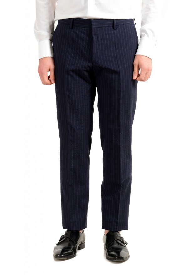 """Hugo Boss Men's """"Helford/Gender3"""" Slim Fit Blue Striped Wool Two Button Suit: Picture 8"""