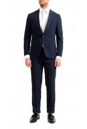 """Hugo Boss Men's """"Nalton1/Ben2"""" Slim Fit Blue Wool Plaid Two Button Suit"""
