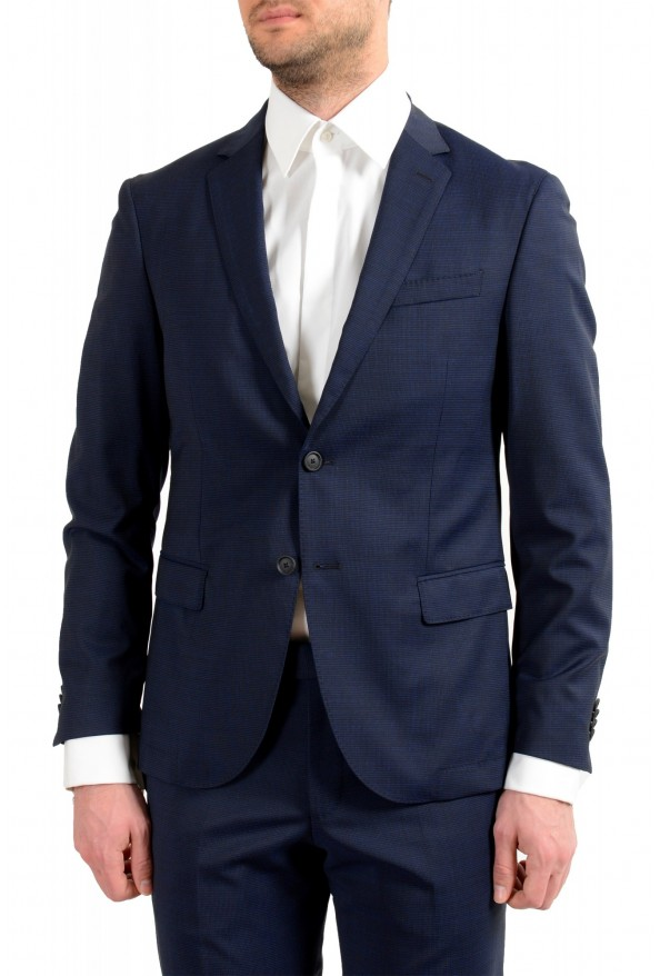 """Hugo Boss Men's """"Neight1/Byte1"""" Slim Fit Wool Blue Plaid Two Button Suit: Picture 4"""
