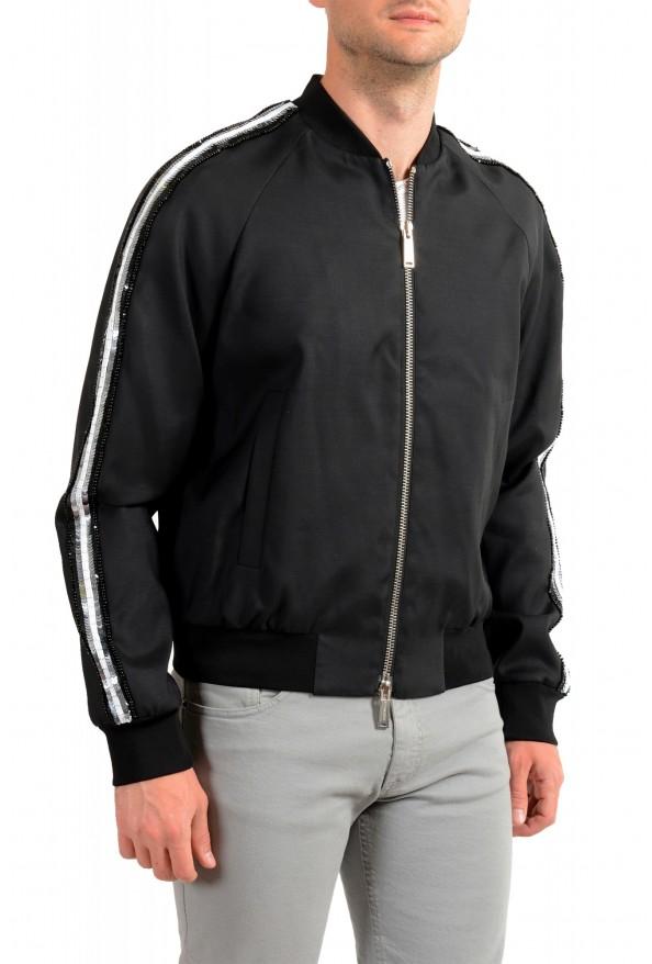 Dsquared2 Men's Black Wool Silk Embellished Full Zip Windbreaker Jacket: Picture 2