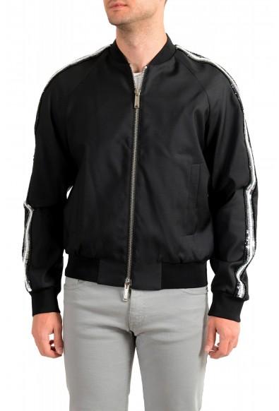 Dsquared2 Men's Black Wool Silk Embellished Full Zip Windbreaker Jacket