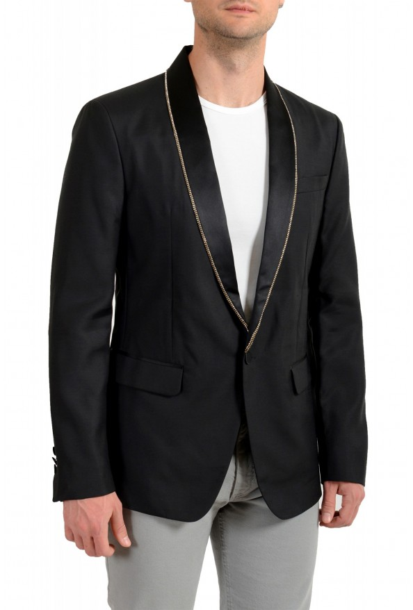 Dsquared2 Men's Black Silk Wool One Button Embellished Blazer: Picture 2