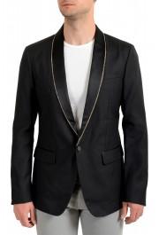 Dsquared2 Men's Black Silk Wool One Button Embellished Blazer