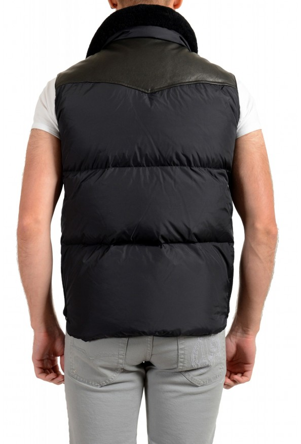 Dsquared2 Men's Down Leather Trimmed Real Fur Collar Button Down Vest: Picture 3