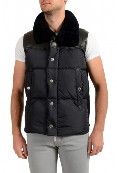 Dsquared2 Men's Down Leather Trimmed Real Fur Collar Button Down Vest