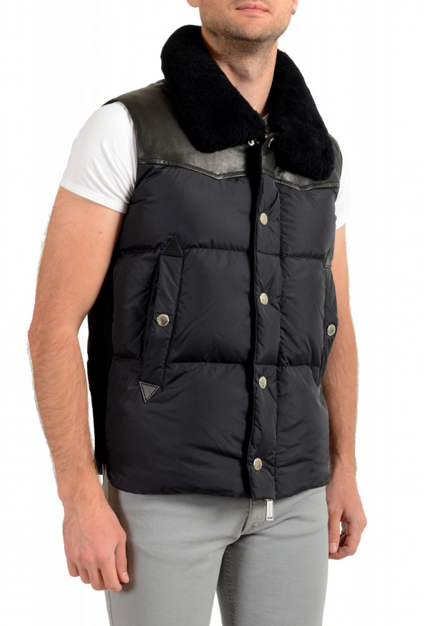 Dsquared2 Men's Down Leather Trimmed Real Fur Collar Button Down Vest: Picture 2