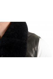 Dsquared2 Men's Down Leather Trimmed Real Fur Collar Button Down Vest: Picture 4