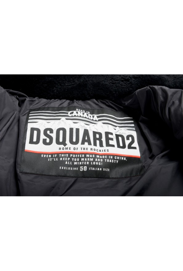 Dsquared2 Men's Down Leather Trimmed Real Fur Collar Button Down Vest: Picture 5